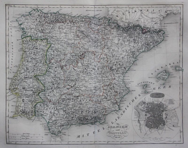 1856 - Spanien Portugal Espana Spain Madrid Stahlstich Karte map