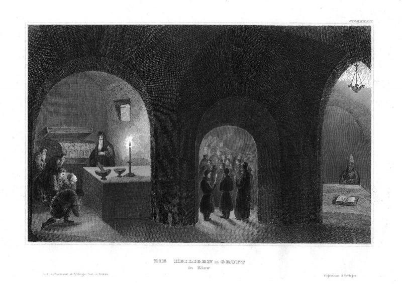 1840 - Kiew Heiligen Gruft Gewölbe Messe Grabmal Ukraine Stahlstich engraving