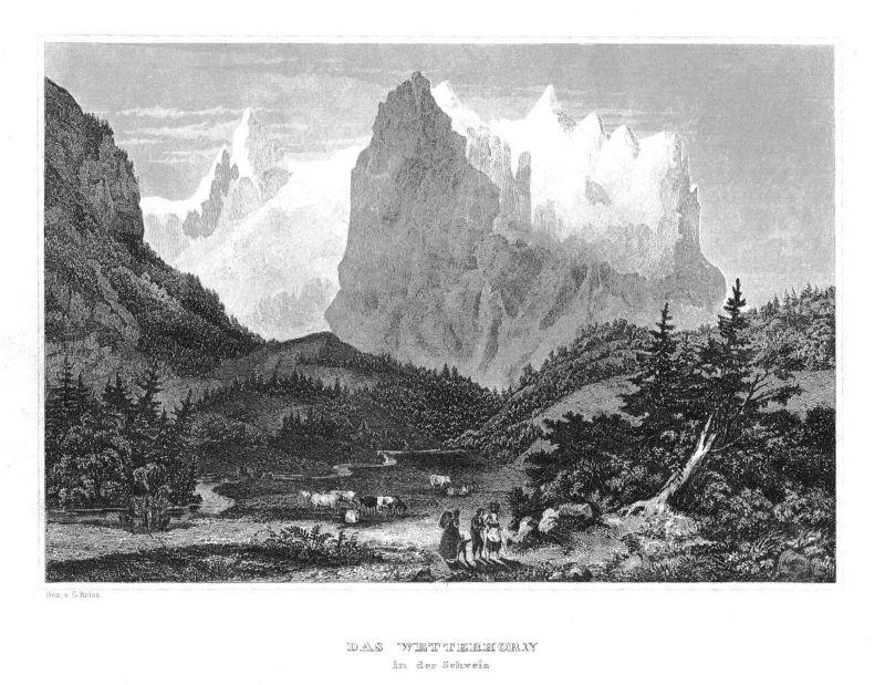 1840 - Das Wetterhorn in der Schweiz Suisse Original Stahlstich engraving