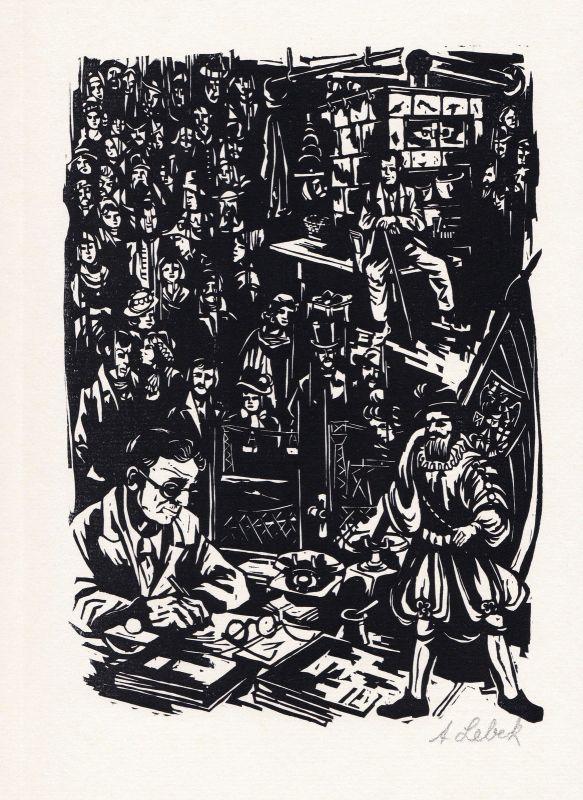 1986 Johannes Lebek Holzschnitt aus der Folge der Lebenserinnerungen signiert
