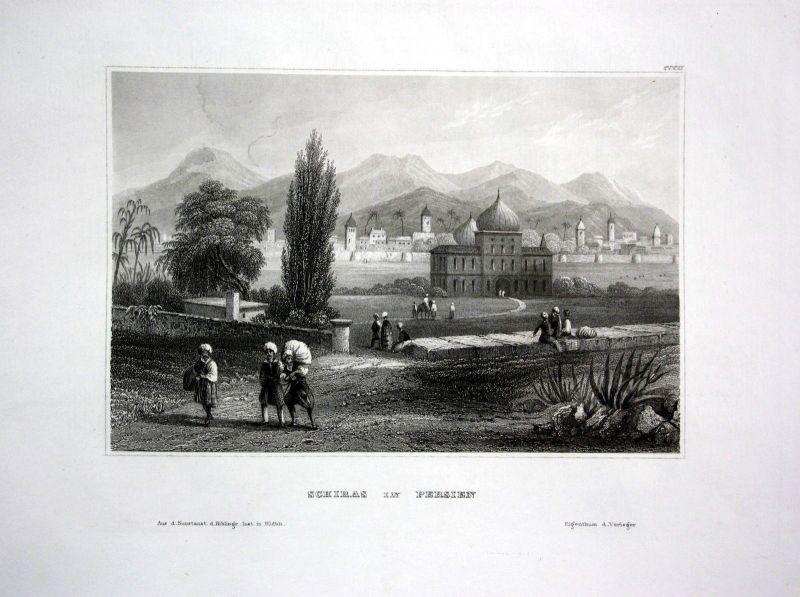 1840 - Schiras mosque Fars Iran Persia Asia steel engraving antique print