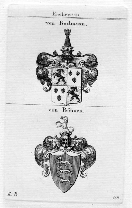 1820 - von Bodmann Böhnen Wappen Adel coat of arms heraldry Heraldik Kupferstich