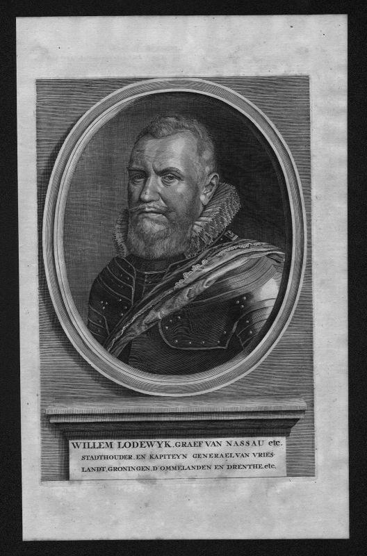 1700 - Wilhelm Ludwig Nassau Dillenburg Friesland Portrait Kupferstich