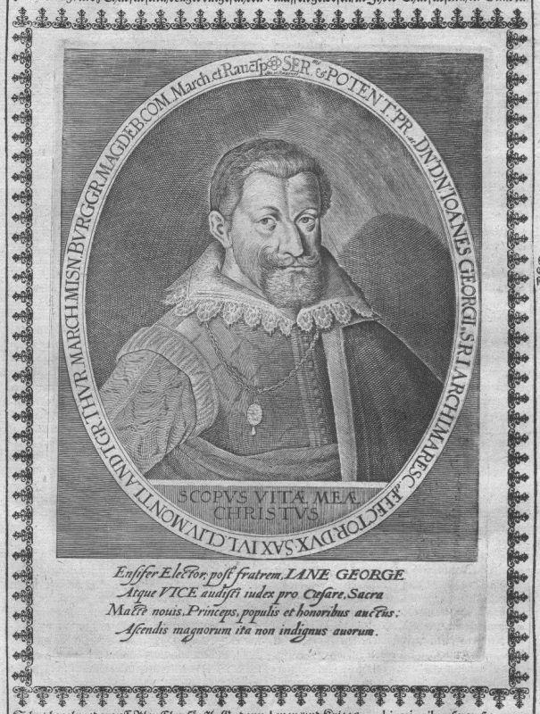 1640 - Johann Georg I Sachsen Wettin Kurfürst Portrait Kupferstich engraving