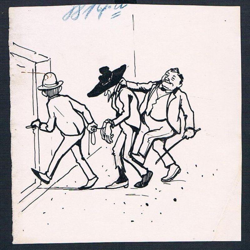 Eugen von Baumgarten München Karikatur Zeichnung Gefängnis Räuber Verbrecher