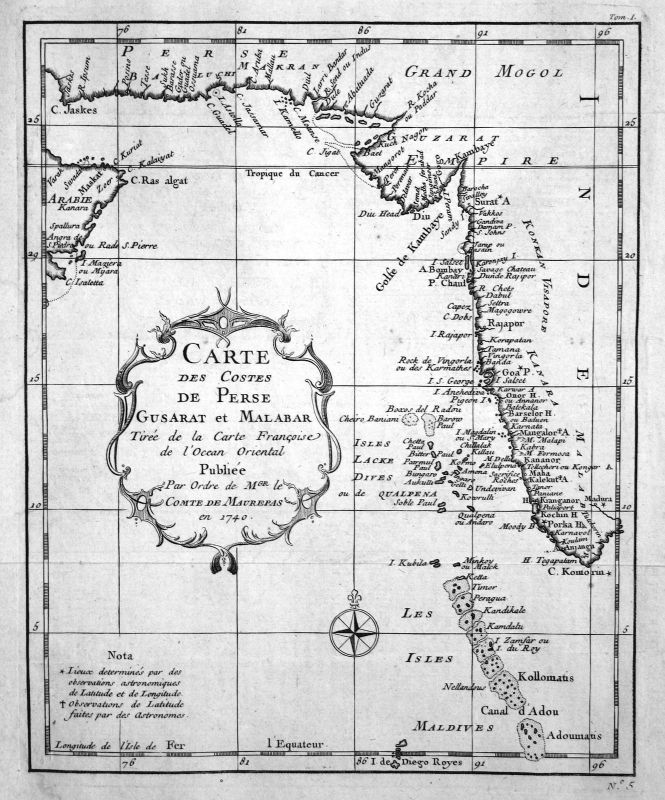 1740 Iran Pakistan Malediven Karte map Kupferstich antique print Bellin
