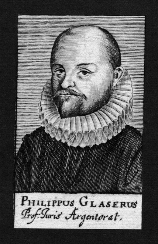1680 - Philipp Glaser Jurist lawyer Professor Straßburg Kupferstich Portrait