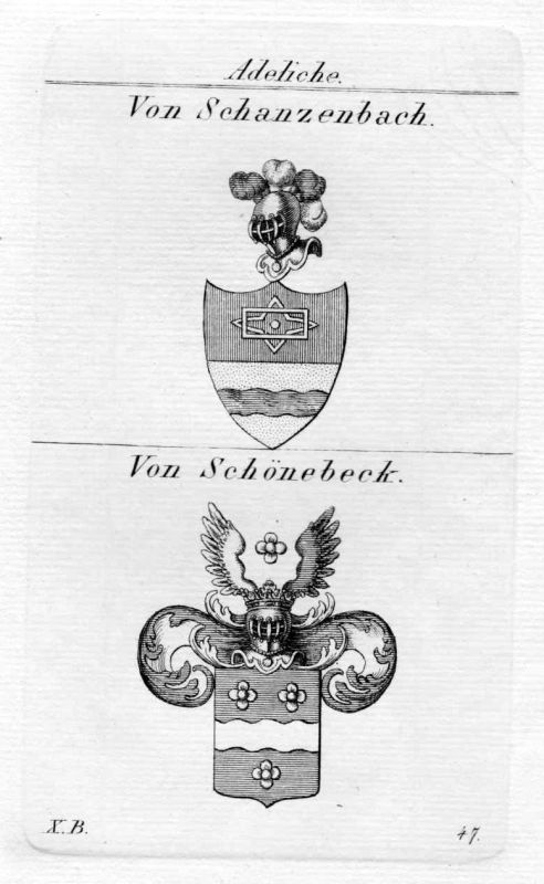 1820 Schanzenbach Schönebeck Wappen coat of arms heraldry Heraldik Kupferstich