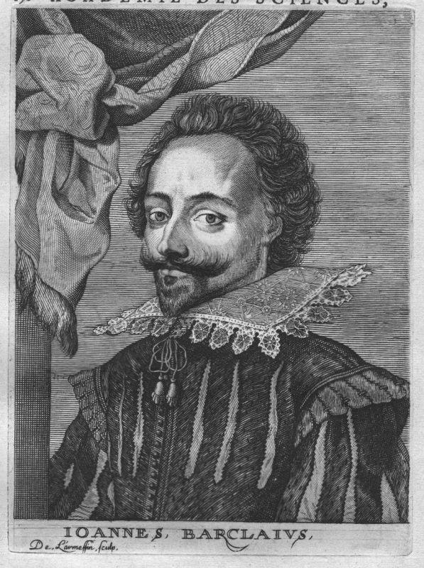 1695 - John Barclay poet Dichter Portrait Kupferstich engraving gravure