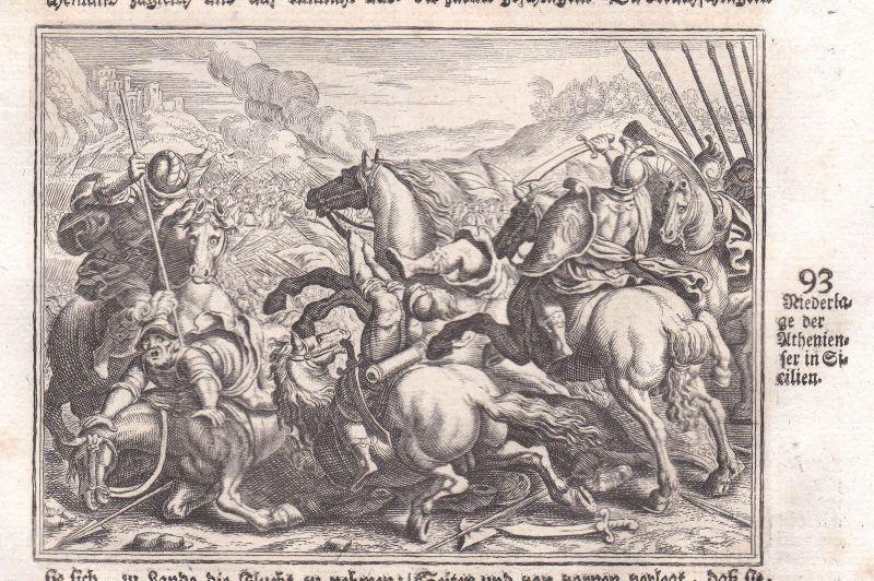 Um 1700 Athen Athens Sicilia Sicily Sizielien Schlacht battle Kupferstich Merian