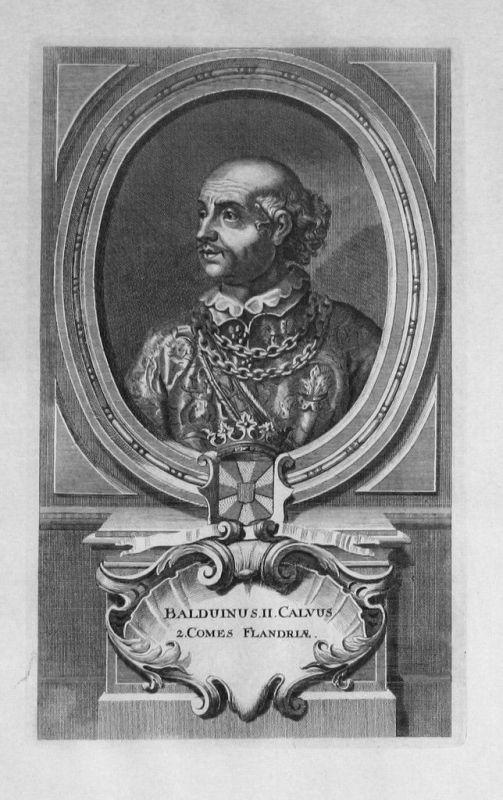 1735 - Balduin II. von Flandern Flandre Portrait gravure engraving Kupferstich