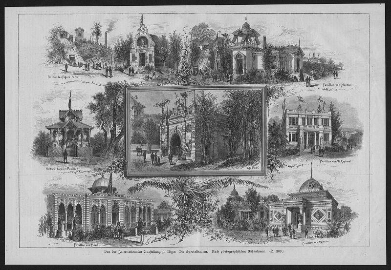 1884 - Nizza Nice Ausstellung Spezialbauten Frankreich wood engraving Holzstich