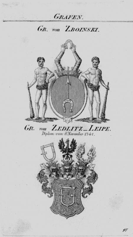 1820 - Zboinski Zedlitz Leipe Wappen coat of arms heraldry Heraldik Kupferstich