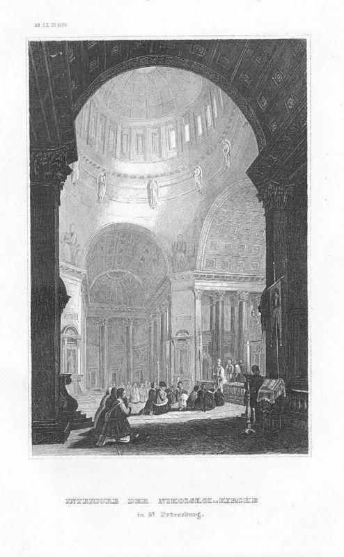 1850 - St. Petersburg Pietroburgo Nikolskoi-Kirche Russia Original Stahlstich