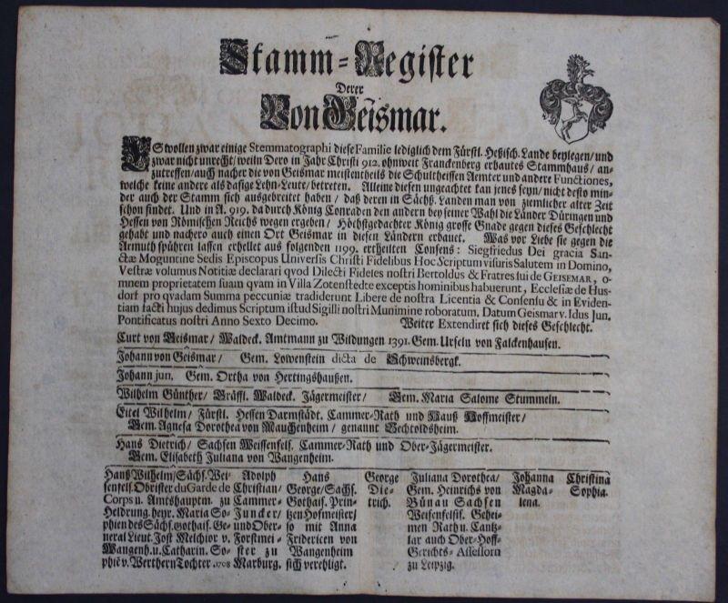 1720 - Geismar Ahnentafel Stammbaum Genealogie Wappen family tree coat of arms