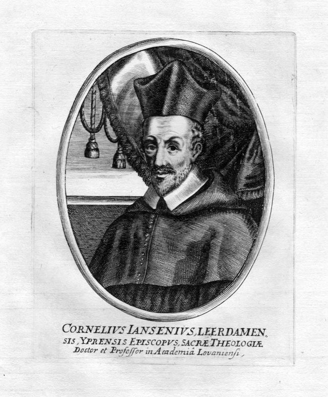 Ca. 1650 Cornelius Jansen Leerdam Portrait Kupferstich antique print Theologe