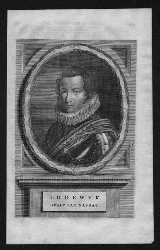 1700 - Ludwig von Nassau Dillenburg Holland Niederlande Portrait Kupferstich