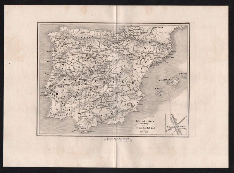 1840 - Spanien Portugal Spain Schlacht battle Karte map engraving Stahlstich