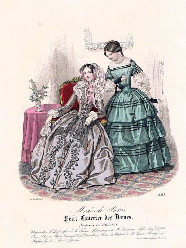 1848 Biedermeier Mode Kupferstich victorian fashion antique print etching  89745