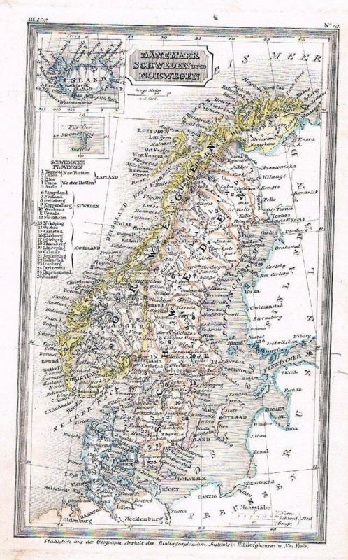 1840 - Denmark Sweden Norway Karte map Stahlstich
