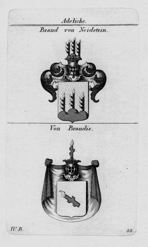 1820 Brand Brandis Wappen Adel coat of arms heraldry Heraldik crest Kupferstich