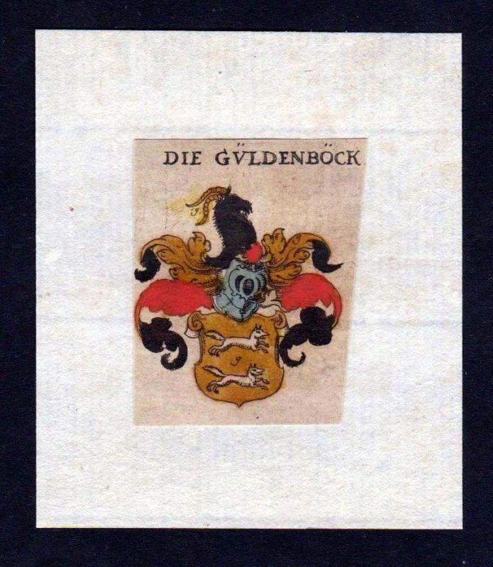 17. Jh. Güldenböck Gueldenboeck Wappen Adel coat of arms heraldry Kupferstich