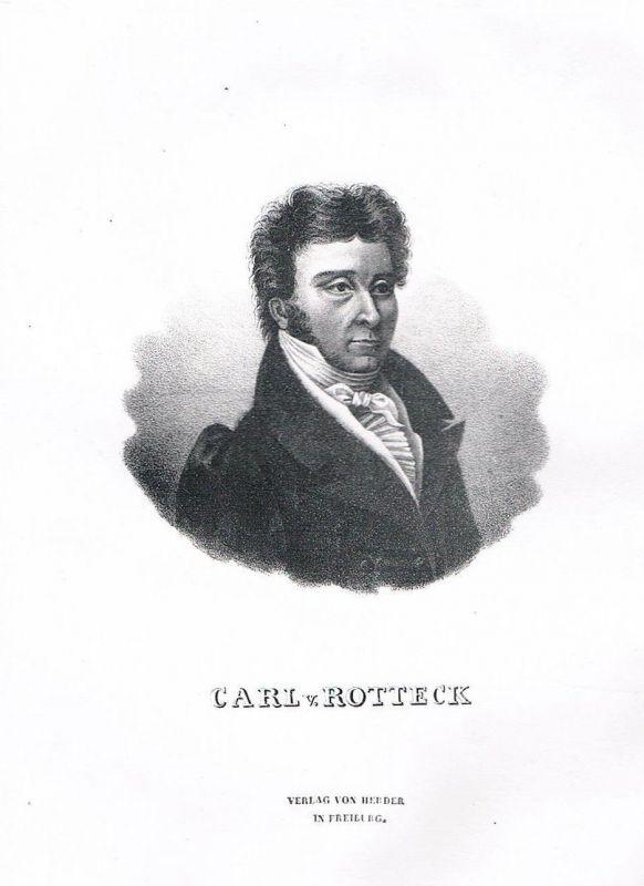 Ca. 1840 - Karl von Rotteck - Portrait Lithographie Staatswissenschaftler