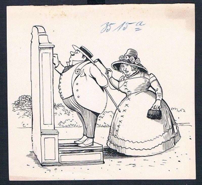 Eugen von Baumgarten München Karikatur Zeichnung Ehepaar Brille Bürgertum Ehe