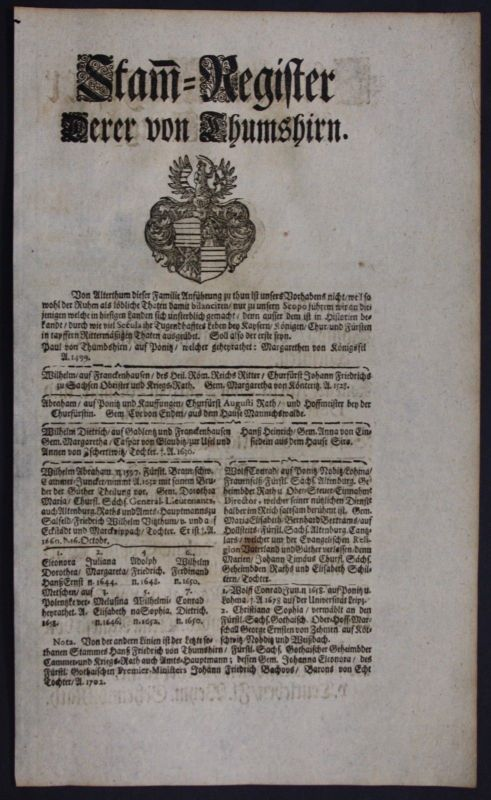 1720 - Thumshirn Tangeln Beetzendorf Ahnentafel Stammbaum Genealogie family tree