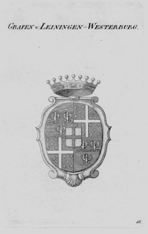 1820 Leiningen Westerburg Wappen Adel coat of arms heraldry Heraldik Kupf 104029