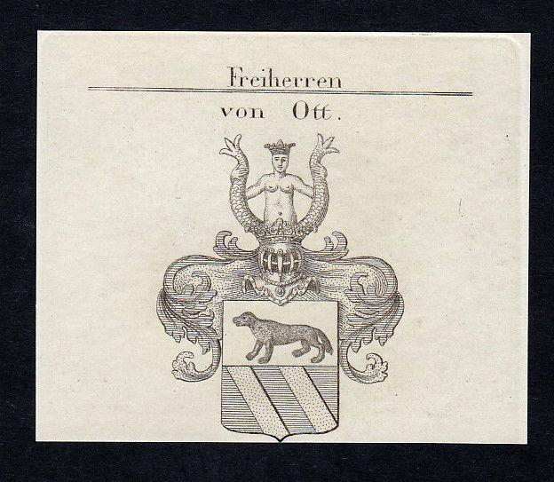 1820 Ott Wappen Adel coat of arms heraldry Heraldik Kupferstich engraving