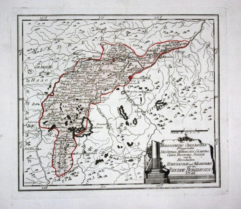 Ca. 1791 Burghausen Trostburg Chiemsee Altötting Mühldorf Karte map Reilly
