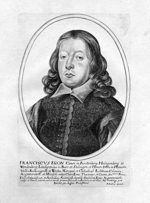 1650 Franz Egon von Fürstenberg-Heiligenberg Portrait Kupferstich antique print