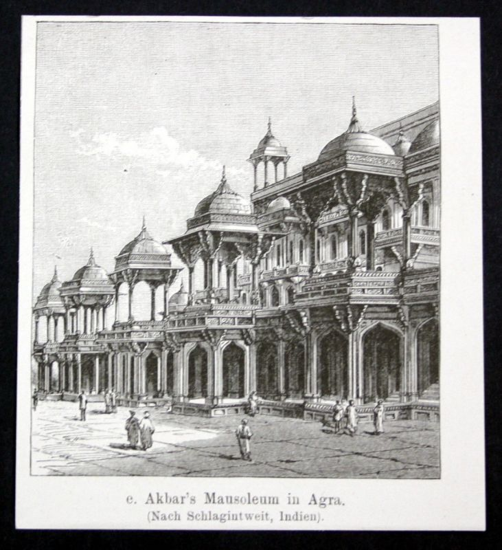 1880 Akbar's Mausoleum in Agra Indien India Asia Asien Grabmal antique print