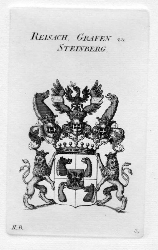 1820 - Reisach Steinberg Wappen Adel coat of arms heraldry Heraldik Kupferstich