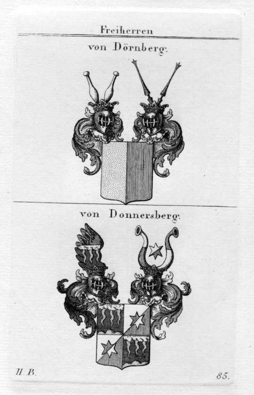1820 Dörnberg Donnersberg Wappen Adel coat of arms heraldry Heraldik Kupferstich