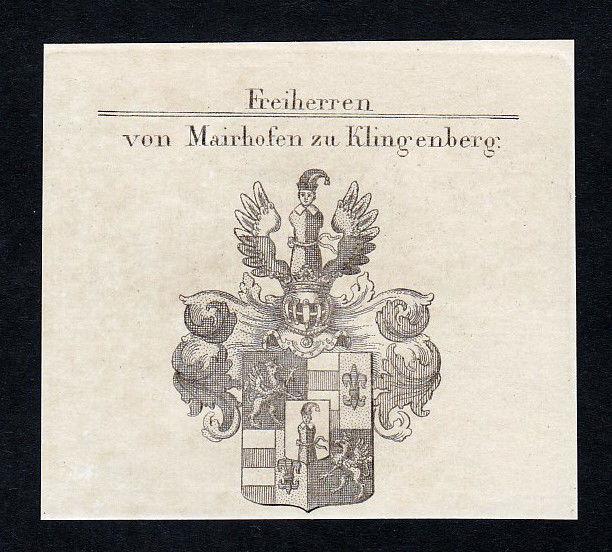 Mairhofen Klingenberg Mayrhofen Wappen Adel coat of arms Kupferstich engraving