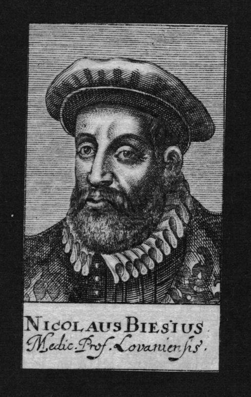 1680 - Nicolas Biese Arzt doctor Professor Löwen Belgien Kupferstich Portrait