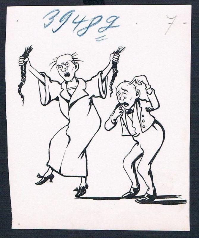 Eugen von Baumgarten München Karikatur Zeichnung wütend Haare ausreissen Streit