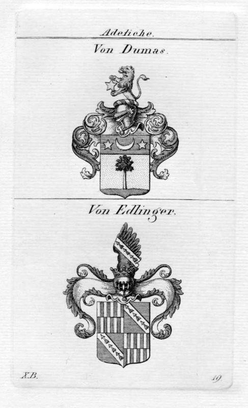 1820 - Dumas Edlinger Wappen Adel coat of arms heraldry Heraldik Kupferstich