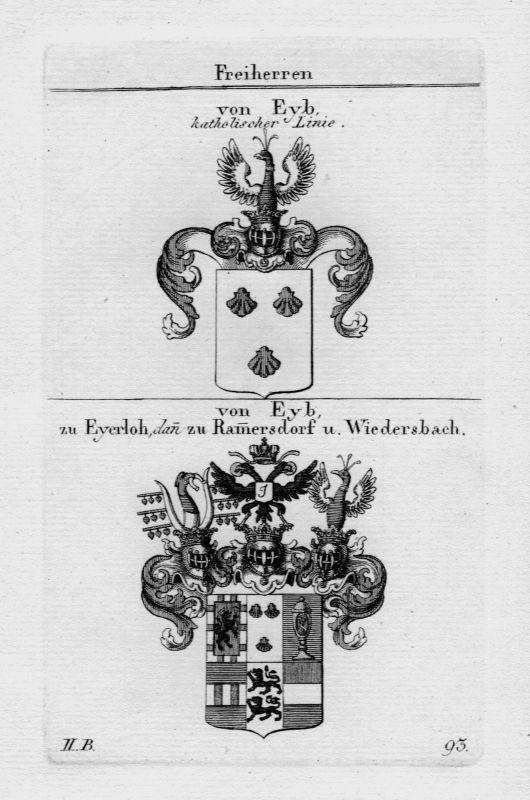 1820 - Eyb Eyerloh Wappen Adel coat of arms heraldry Heraldik crest Kupferstich
