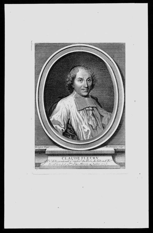 1750 - Claude Fleury Pädagoge Historiker Frankreich Kupferstich Portrait