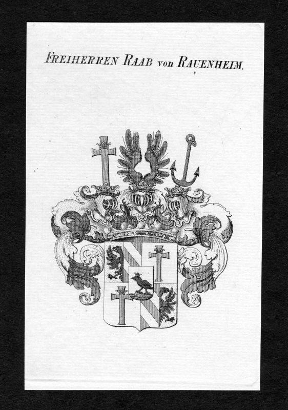Ca. 1820 Raab zu Rauenheim Wappen Adel coat of arms Kupferstich antique print