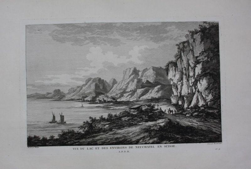 1780 - Neuenburg Neuchatel Neuenburgersee Panorama Kupferstich gravure Zurlauben