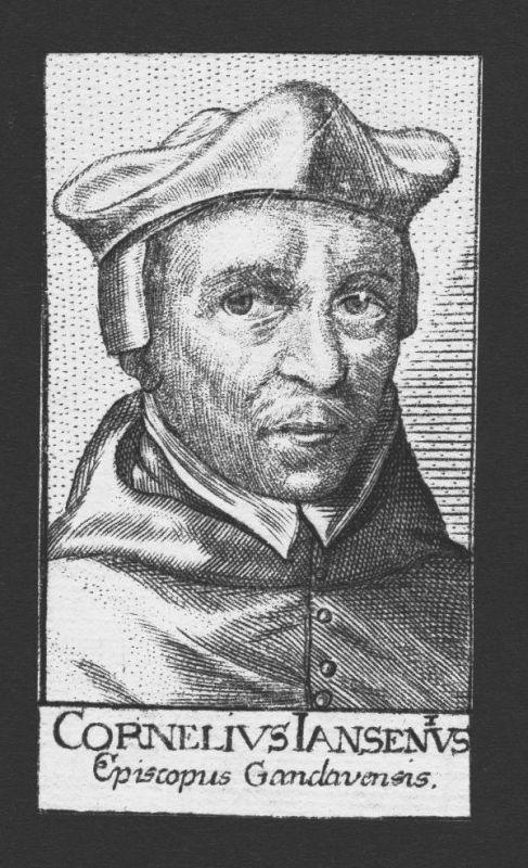 1680 - Cornelius Jansen Theologe Professor Gent Holland Kupferstich Portrait