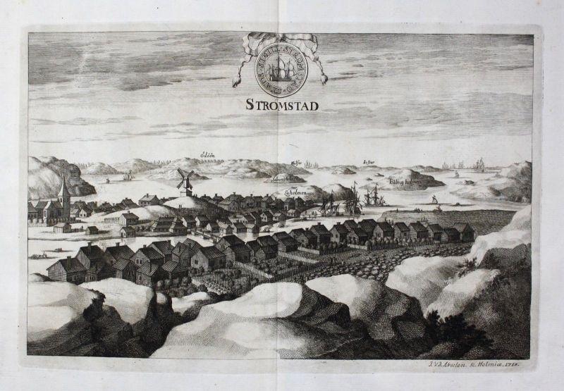 1713 - Strömstad Stromstad sweden Schweden Kupferstich Dahlberg engraving