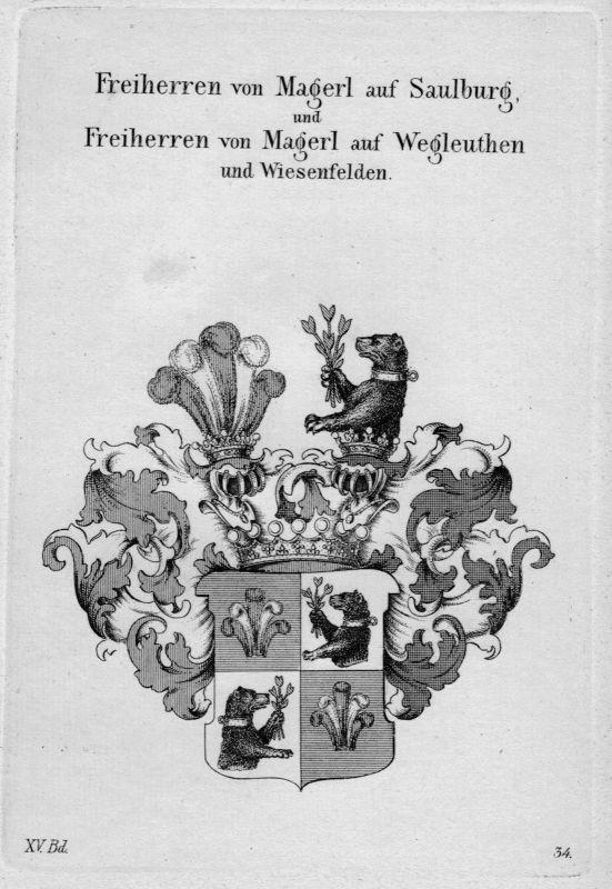 1820 - Magerl Saulburg Wappen Adel coat of arms heraldry Heraldik Kupferstich