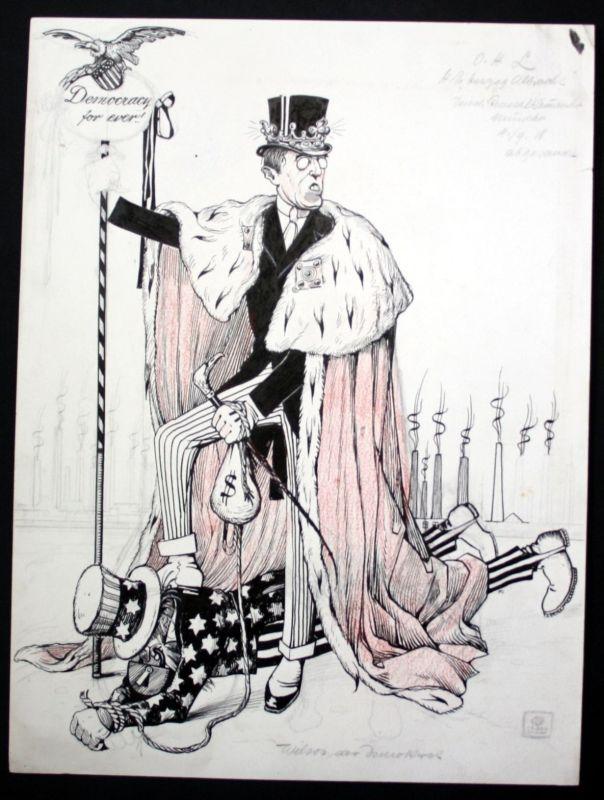1918 Eugen von Baumgarten Propaganda Zeichnung America Woodrow Wilson world war