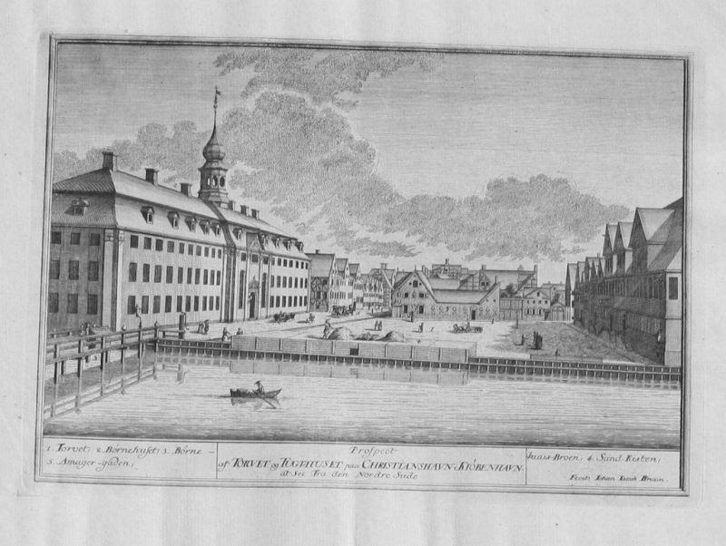 1760- Kopenhagen Copenhagen Kobenhavn Kupferstich Bruun