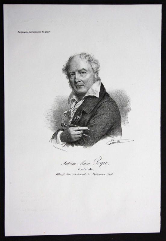 1830 - Antoine Marie Peyre Architekt architect Frankreich Lithographie Portrait